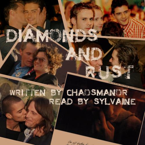 a collection of sepia-toned photos of Orlando Bloom and Viggo Mortensen, hugging, talking, kissing.