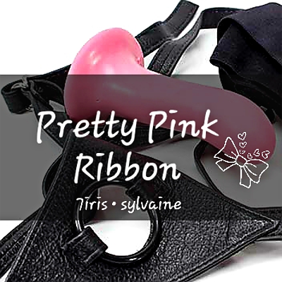 cover of pretty pink ribbon, showing a pink dildo and black leather harness.