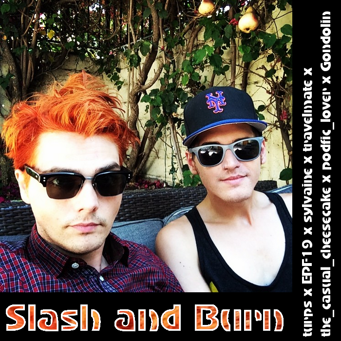 cover of slash and burn, showing Gerard and Mikey in sunglasses posing for a selfie in front of a pear tree.
