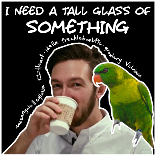 cover of i need a tall glass of something. Shane is drinking from a paper cup. There is an angry-looking parrot on his shoulder.