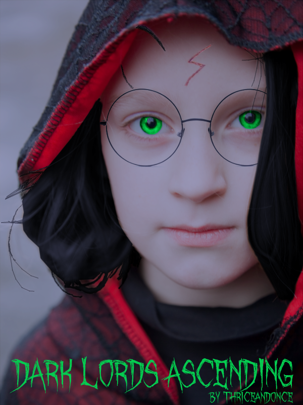 A young Harry Potter glaring at the viewer from behind a hood.