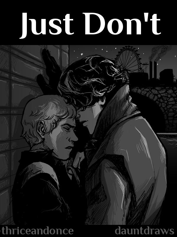 Sherlock Holmes shoving John Watson against a wall.