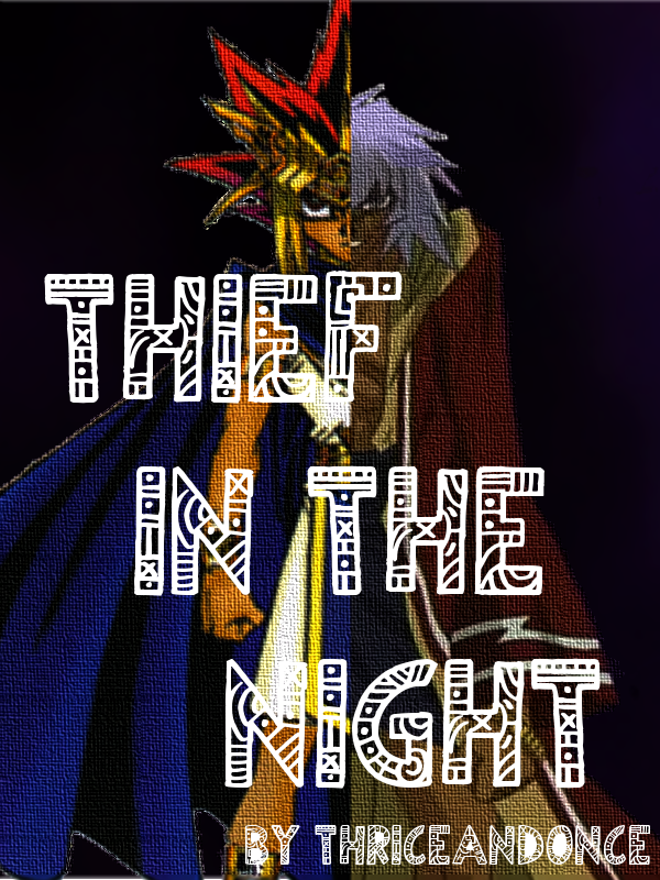 a faux-painted Pharaoh Atem and Thief Bakura, each bisected so together they form one whole person.