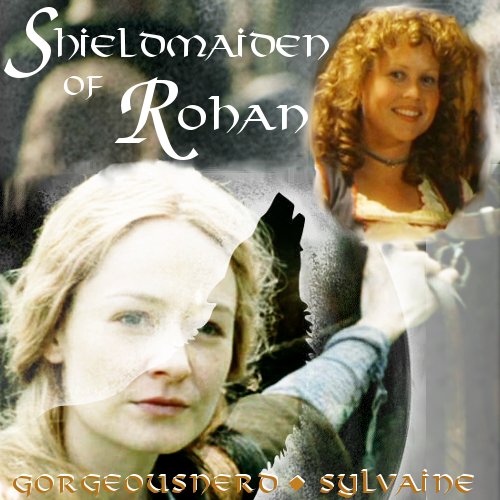 cover of Shieldmaidens of Rohan. Éowyn, overlaid with a silhouette of a wolf howling at the moon, is looking up at a pasted on image of Rosie Cotton, who is looking back at her and smiling.