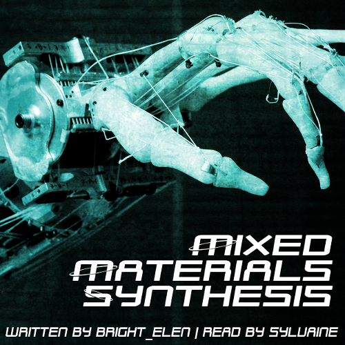 cover of mixed materials synthesis. A close-up of a vaguely skeletal robotic hand with the wrist being exposed mechanics.