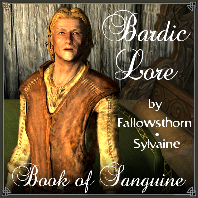 cover of Bardic Lore, showing Mikael looking slightly confused or blank with a bed in the background.