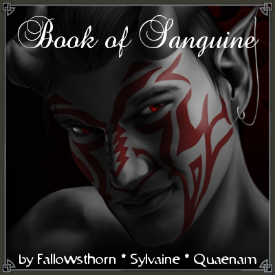 cover of Book of Sanguine, a close-up of Sanguine looking slyly up at the viewer.
