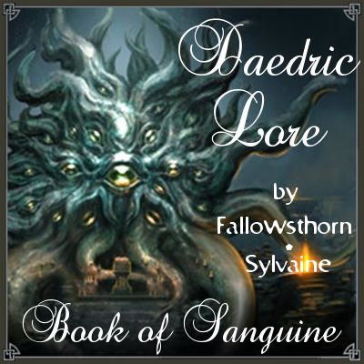 cover of daedric lore, showing a tentacled statue of Hermaeus Mora.
