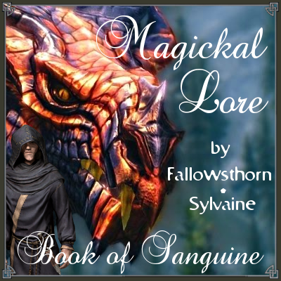 cover of magickal lore, showing a big red and black dragon smirking down at Farengar.