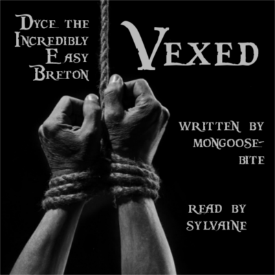 cover of vexed, a black and white photograph of a pair of hands suspended by a rope binding.