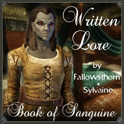 cover of written lore, showing a frowning female Dunmer with a richly decorated bedroom in the background.