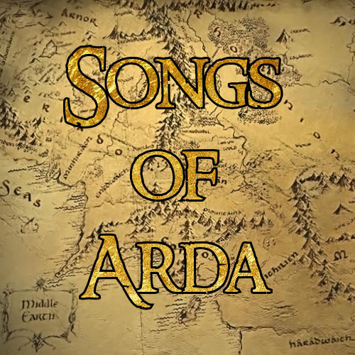 a map of Middle-Earth with 'songs of arda' on it in gold letters.