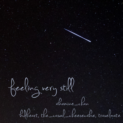 cover of feeling very still, a lone shooting star on a starry night sky.