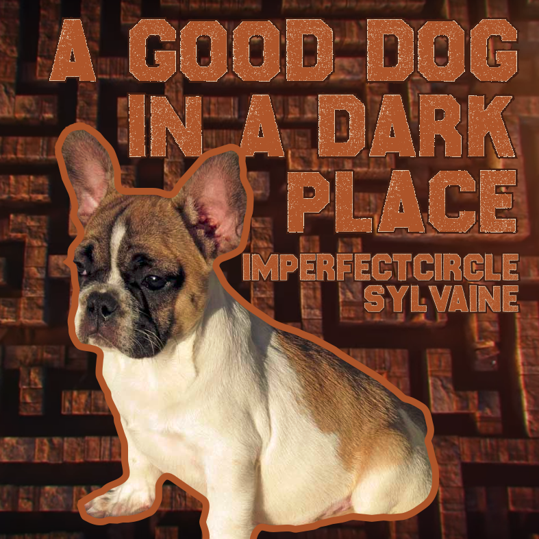 cover of a good dog in a dark place. The cover shows the title and creators in a blocky font as well as a French bulldog looking soulfully off into the distance. There is a stone maze in the background.